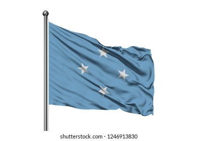 Flag of Micronesia waving in the wind, isolated white background. Federated States of Micronesia flag.