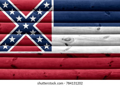 Flag of Mississippi state (USA) on wood texture background