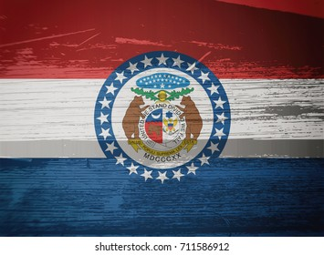 Flag of Missouri, USA, background, texture, blurred image, dirty, illustration