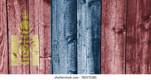 Flag of Mongolia on weathered wood