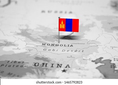 The Flag of Mongolia in the World Map