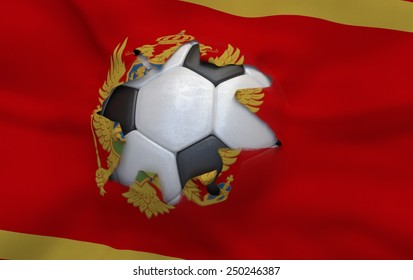 Flag of Montenegro and soccer ball, hole in flag