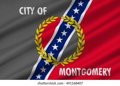 Flag of Montgomery is the capital city of Alabama, United States. 3D illustration