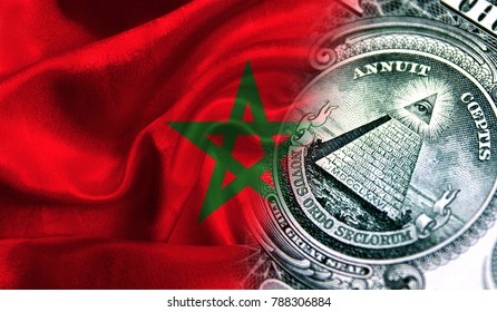 Flag of Morocco on a fabric with an American dollar close-up.