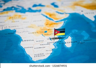 the Flag of mozambique in the world map