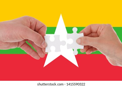Flag of Myanmar, intergration of a multicultural group of young people