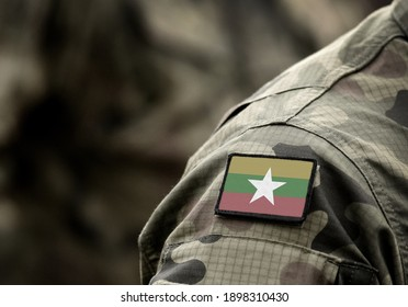 Flag of Myanmar and also known as Burma on military uniform. Army, armed forces, soldiers. Collage.