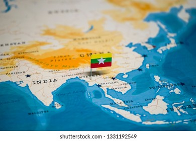 the Flag of myanmar on naypyidaw in the world map