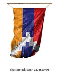 Flag of Nagorno-Karabakh Republic. Isolated on a white background.
