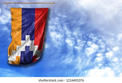 Flag of Nagorno-Karabakh Republic. Vertical flag, against blue sky with place for your text
