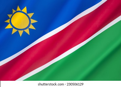 Flag of Namibia - The flag of Namibia was adopted on 21st March 1990 following independence from South Africa.