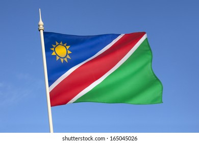 The flag of Namibia was adopted on March 21, 1990 upon independence from South Africa.