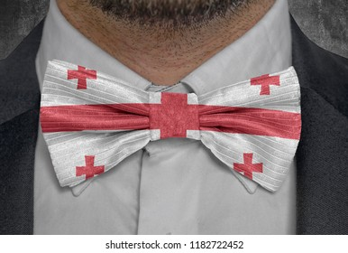 Flag of national country Georgia on bowtie business man suit