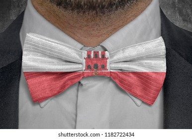 Flag of national country Gibraltar on bowtie business man suit