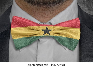 Flag national of Ghana on bowtie business man suit