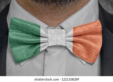 Flag of national of Ireland on bowtie business man suit