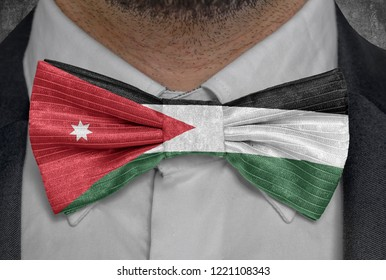 Flag national of Jordan on bowtie business man suit