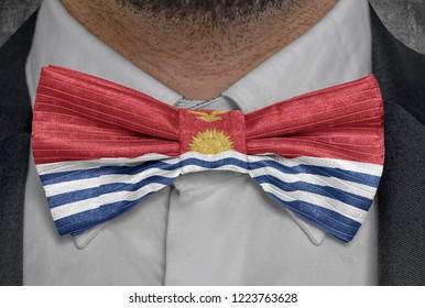 Flag of national of Kiribati on bowtie business man suit