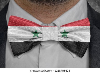 Flag national of Syria on bowtie business man suit