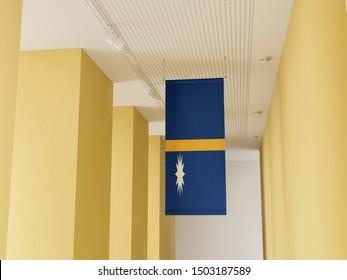 Flag of Nauru hanging in gallery. Nauru Flag displayed in gallery.