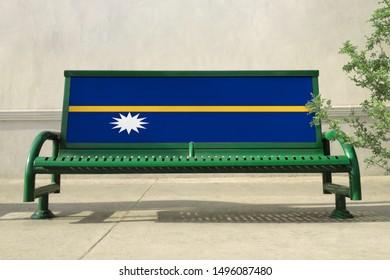 Flag of Nauru on bench. Nauru Flag on bench advertisement