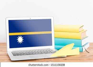Flag of Nauru on Laptop. Nauru Flag on Screen.