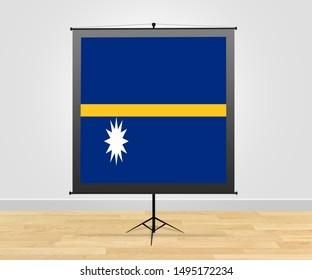 Flag of Nauru on poster board. Nauru on poster stand or poster display.