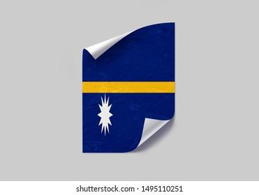Flag of Nauru Poster on Wall. Nauru Flag on Wall.
