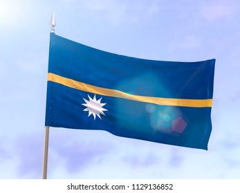 Flag of Nauru with sun flare