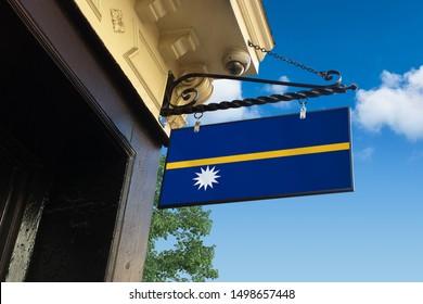 Flag of Nauru Swinging Shop Sign.