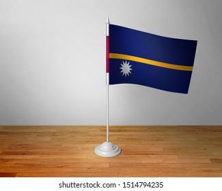 Flag of Nauru Table. Nauru Desk Flag on Wooden Table.