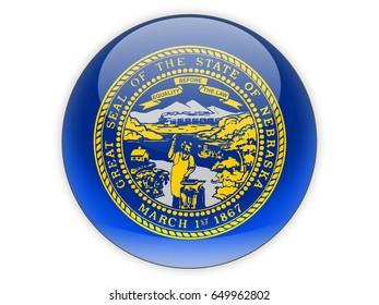Flag of nebraska, US state icon isolated on white. 3D illustration