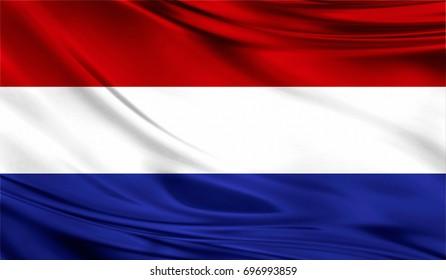 Flag of Netherlands, 3D illustration.