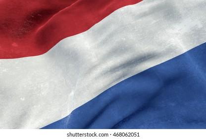 Flag of Netherlands (Holland) grunge concept. 3D illustration.