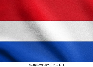 Flag of the Netherlands waving in the wind with detailed fabric texture