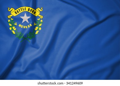 Flag of Nevada state of United States of America on soft and smooth silk texture