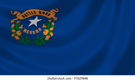 Flag of Nevada waving in the wind detail