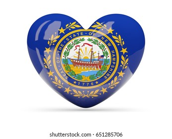 Flag of new hampshire, US state heart icon isolated on white. 3D illustration