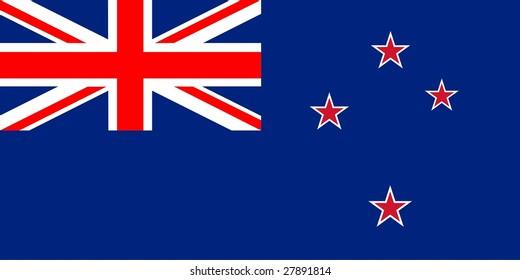 Flag of New Zealand. Illustration over white background