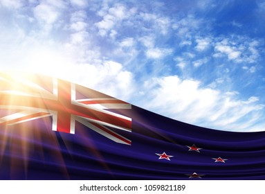 flag of New Zealand in the sun