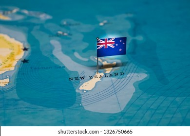 the Flag of new zealand in the world map