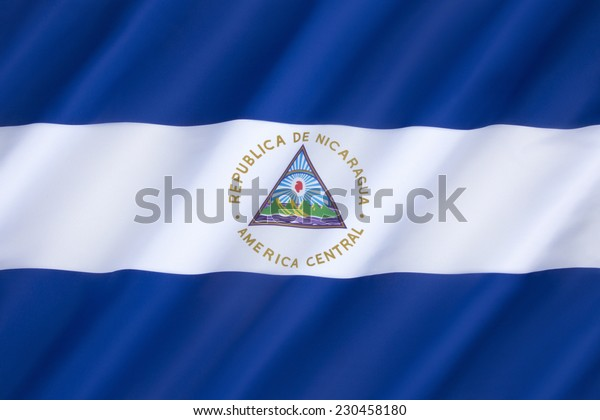 The flag of Nicaragua was officially adopted on August 27th 1971 (first used in 1908). It is based on the flag of the Federal Republic of Central America and inspired by the Argentine flag.