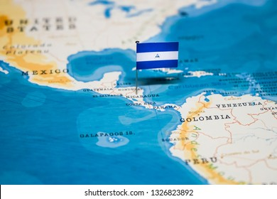 the Flag of nicaragua in the world map