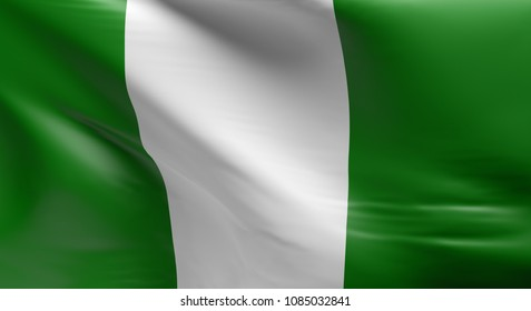 Flag of Nigeria using as background, 3d rendering