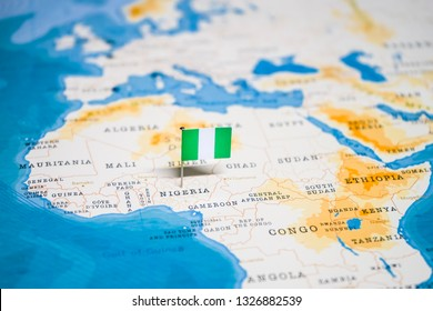 the Flag of nigeria in the world map