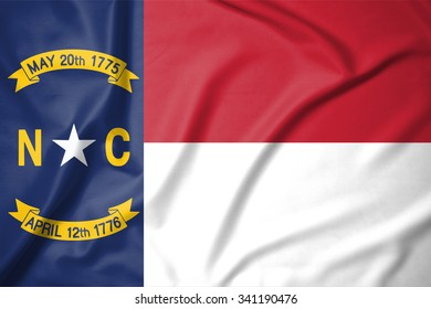 Flag of North Carolina state of United States of America on soft and smooth silk texture