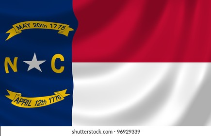 Flag of North Carolina state waving in the wind detail