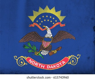 Flag of North Dakota, United States of America, with an old, vintage style