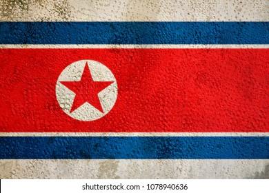 Flag of North Korea on the wall