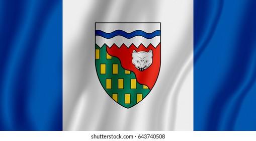 Flag Canadian Northwest Territories Waving Wind Stock Illustration